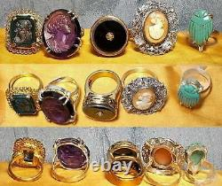 1 Victorian Amethyst Glass Cameo Ring, Large Faceted Cameo in Sterling Ring Sz 7