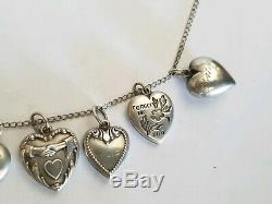 11 ANTIQUE VICTORIAN PUFFY HEART STERLING SILVER HEART charms chain necklace