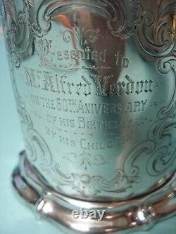 1842 Engraved Victorian HM solid sterling silver cup tankard can mug 422g 14.9oz