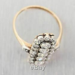 1850's Antique Victorian 14k Yellow Gold & Sterling Silver 1.50ctw Diamond Ring