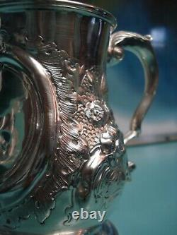 1866 Raised relief UK Victorian TaxHead HM solid sterling silver cup tankard can