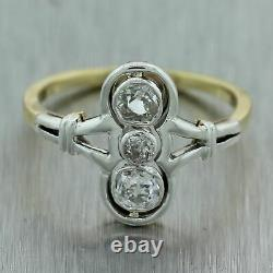 1880's Antique Victorian 18k Yellow Gold & Sterling Silver 0.50ctw Diamond Ring