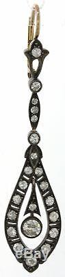 1880s Antique Victorian 14k Yellow Gold Sterling 1.00ctw Diamond Dangle Earrings