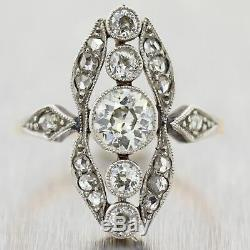 1890's Antique Victorian Sterling Silver & 14k Yellow Gold 1.25ctw Diamond Ring