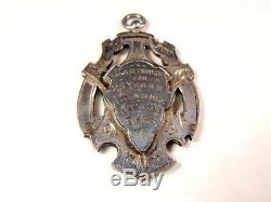 1908 Antique Victorian Sterling & Rose Gold Double Sided 2 Award Watch Fob