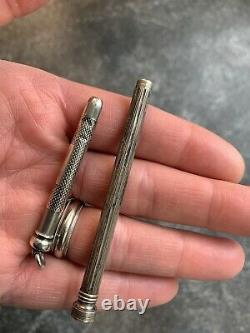 2 victorian MECHANICAL PENCIL antique RETRACTING pendant STERLING SILVER writing