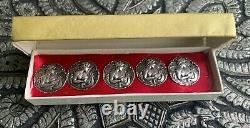 5 X Antique Sterling Silver Buttons 22mm
