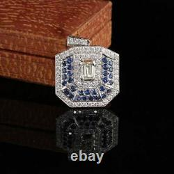 925 Sterling Silver Engagegment Victorian Pendant Without Chain 2.01 Ct Diamond