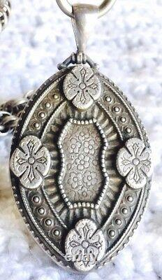 ANTIQUE 1850s Henry Wilkinson HW Sterling Large Locket Pendant Chain Victorian