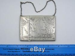 ANTIQUE CHASED STERLING SILVER CALLING CARD WITH WRIST CHAIN 41g / 3.25