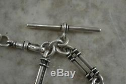ANTIQUE Edwin Page STERLING SILVER fancy link Albert watch chain with fobs 1880