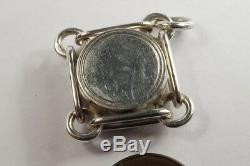 ANTIQUE LATE VICTORIAN ENGLISH STERLING SILVER COMPASS FOB / CHARM c1891