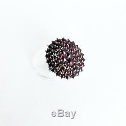 ANTIQUE VICTORIAN BOHEMIAN GARNET COCKTAIL RING EUROPEAN sterling tiered size 7