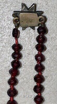 ANTIQUE VICTORIAN BOHEMIAN RED GARNET Necklace STERLING SILVER Clasp 20 Quality