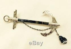 ANTIQUE VICTORIAN ENGLISH / SCOTTISH STERLING SILVER ANCHOR BROOCH c1848