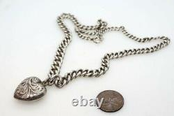 ANTIQUE VICTORIAN ENGLISH STERLING SILVER CHAIN NECKLACE & HEART LOCKET c1890
