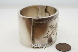 ANTIQUE VICTORIAN ENGLISH STERLING SILVER & GOLD HOLLY BRANCH WIDE BANGLE c1890
