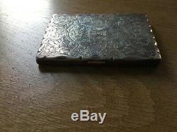 ANTIQUE VICTORIAN SOLID STERLING SILVER CARD CASE BIRMINGHAM 1869, Note Book