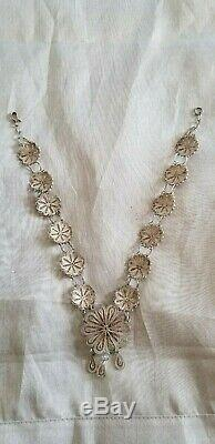 ANTIQUE VICTORIAN STERLING SILVER FILIGREE NECKLACE 16'' 42.03 g