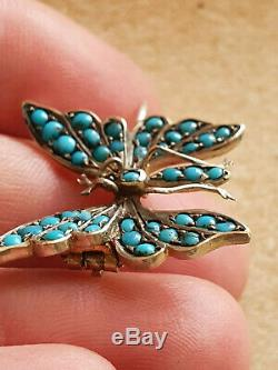 ANTIQUE, VICTORIAN STERLING SILVER & TURQUOISE BUTTERFLY BROOCH, C 1880s