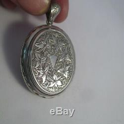 ANTIQUE Victorian ETCHED BUCKLE & FLORAL STERLING SILVER MOURNING LOCKET 1-9/16