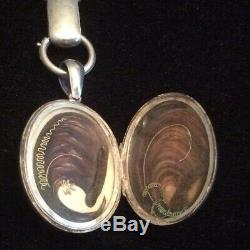 ANTIQUE Victorian ETCHED STERLING SILVER MOURNING LOCKET WITH CHAIN