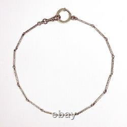 ANTIQUE Victorian Sterling Silver Floral Engraved Watch Chain Necklace & Clasp