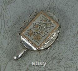 Aesthetic Movement Victorian Sterling Silver and Rose Gold Locket Pendant