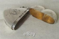 An Antique Solid Sterling Silver Victorian Heart Vesta Match Case Dates 1897