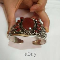 Ancient Victorian Silver Sterling Bracelet Bangle Cuff Beautiful Agate Stone