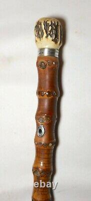 Antique 1800's handmade sterling bamboo wood stag horn bone walking stick cane