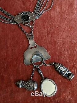 Antique 1880s Sterling Silver Chatelaine 4 Dress Necklace Aesthetic Movement
