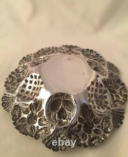 Antique 1898 Victorian Repousse Sterling Silver Sweetmeat Bonbon Dish Hallmarked