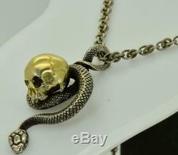Antique 19th C. Victorian Sterling Silver Skull&Snake charm pendant fob necklace