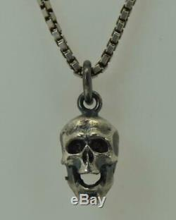 Antique 19th C. Victorian Sterling Silver Skull charm pendant fob necklace