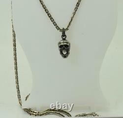 Antique 19th C. Victorian Sterling Silver Skull charm pendant fob&silver chain