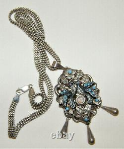 Antique 925 Sterling Silver Victorian LOVE BIRDS MOURNING PENDANT & PIN NECKLACE