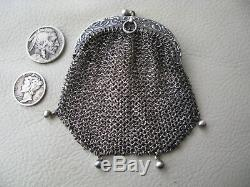 Antique Art Nouveau 4 Ball Chatelaine French STERLING SILVER Coin Purse 1890s