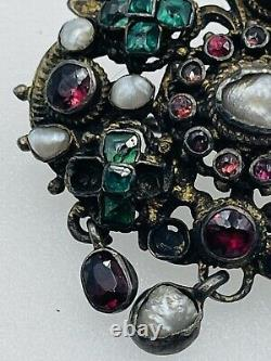 Antique Austro Hungarian Victorian Sterling Silver Emerald & Ruby Pin Pendant