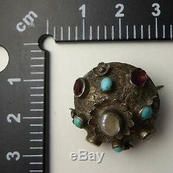 Antique Austro Hungarian Victorian Sterling Silver, Garnet & Turquoise Brooch