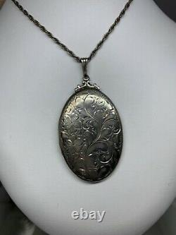 Antique Birks Victorian Sterling Silver Hand Engraved Locket 2.25 With Chain 925