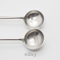 Antique Cased Victorian Sterling Silver Salts and Spoons 1890 & 1901 Dates
