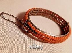 Antique Coral Beads Triple Sterling Silver Cuff Bracelet Victorian 19th Century