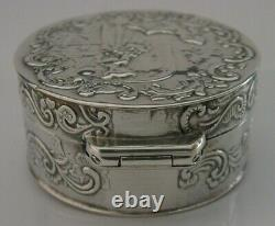 Antique Dutch Solid Sterling Silver Box London Import 1892 Victorian