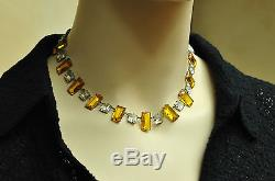 Antique Edwardian / Victorian Riviere Sterling Silver Paste / Crystal Necklace