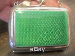Antique English Sterling Chatelaine Purse with Guilloche Enameling
