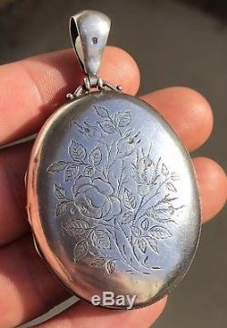 Antique English Victorian Aesthetic Engraved Sterling Silver Scene Floral Locket