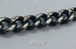 Antique English Victorian Sterling Silver Graduated Link Albert Watch Chain 12