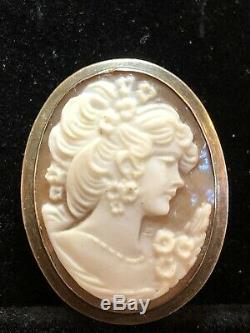 Antique Estate Sterling Silver Cameo Necklace Carved Pendant Victorian