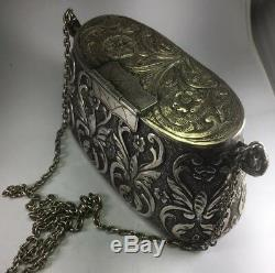 Antique French 800 Sterling Silver Cocktail Evening Purse With 30 Strap